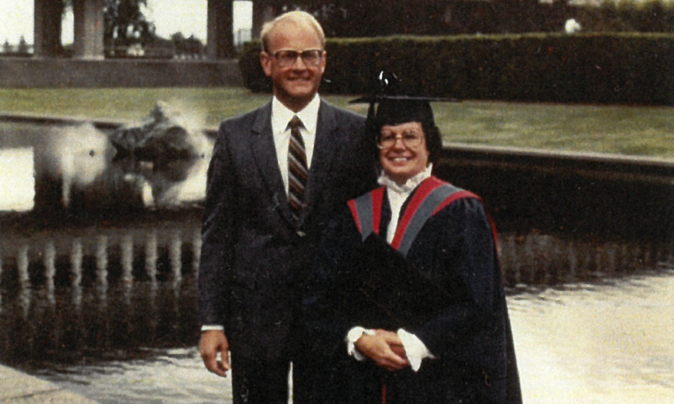 Stan and Judy at Judy's SFU convocation ceremony in 1983
