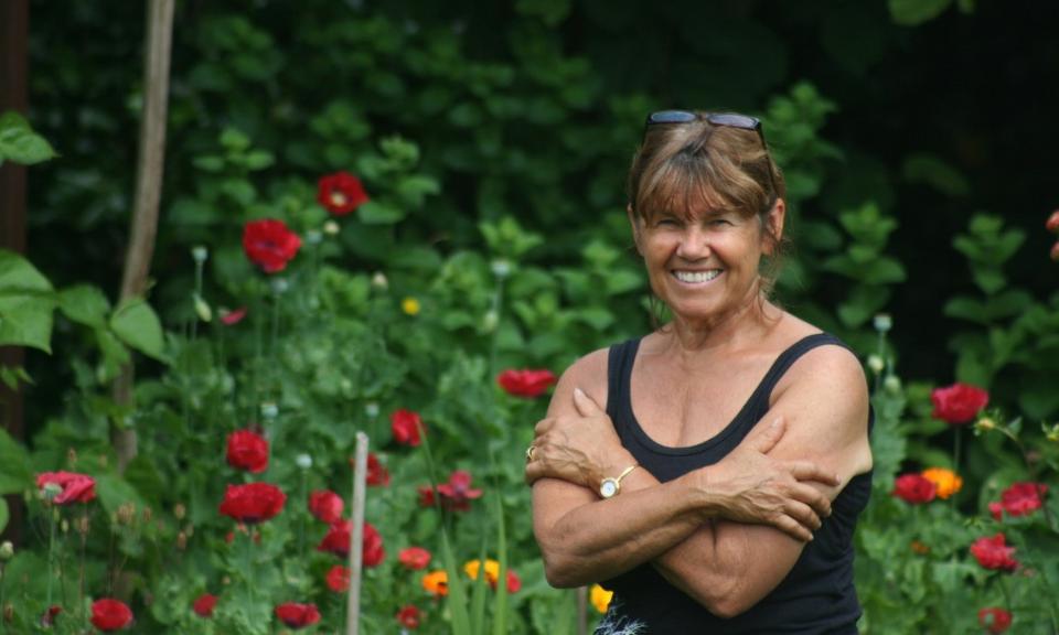Margrit Maynard in her garden